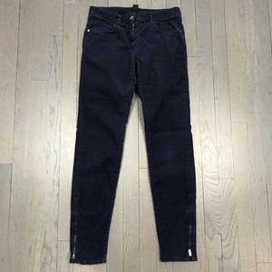 H&M Navy Blue Corduroy Skinny Ankle Zipper Pants